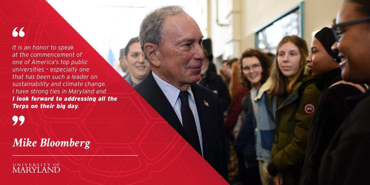 Announcing #UMD's spring 2019 commencement speaker: entrepreneur, philanthropist and former NYC mayor @MikeBloomberg! http://go.umd.edu/UR4  #UMDgrad