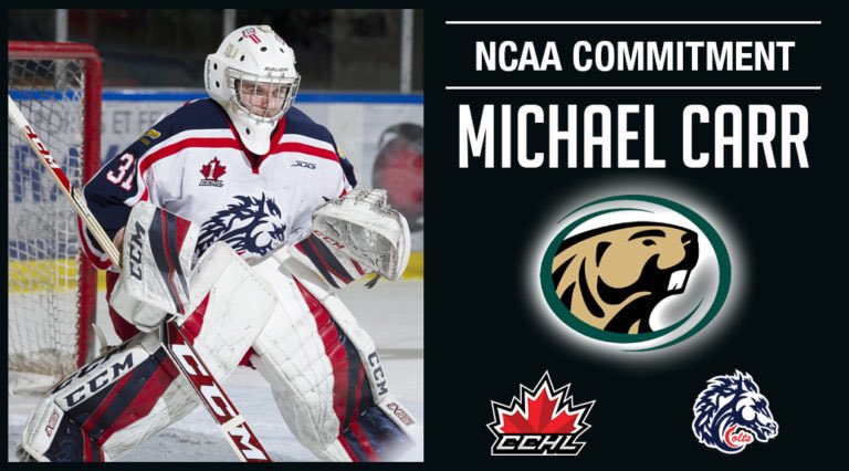 dd3d0c50 MICHAEL CARR COMMITS TO BEMIDJI Cornwall Colts goaltender Michael Carr has  committed to Bemidji State University Beavers NCAA Division 1 hockey team  for the ...