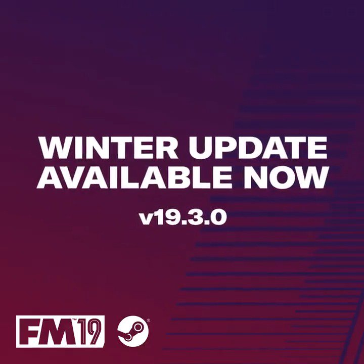 🚨 It's here...   The #FM19 Winter Update (19.3.0) has arrived including winter transfer changes and updated attributes 📈   Just quit and restart Steam ⚙️ http://FM19.Info/WinterUpdate