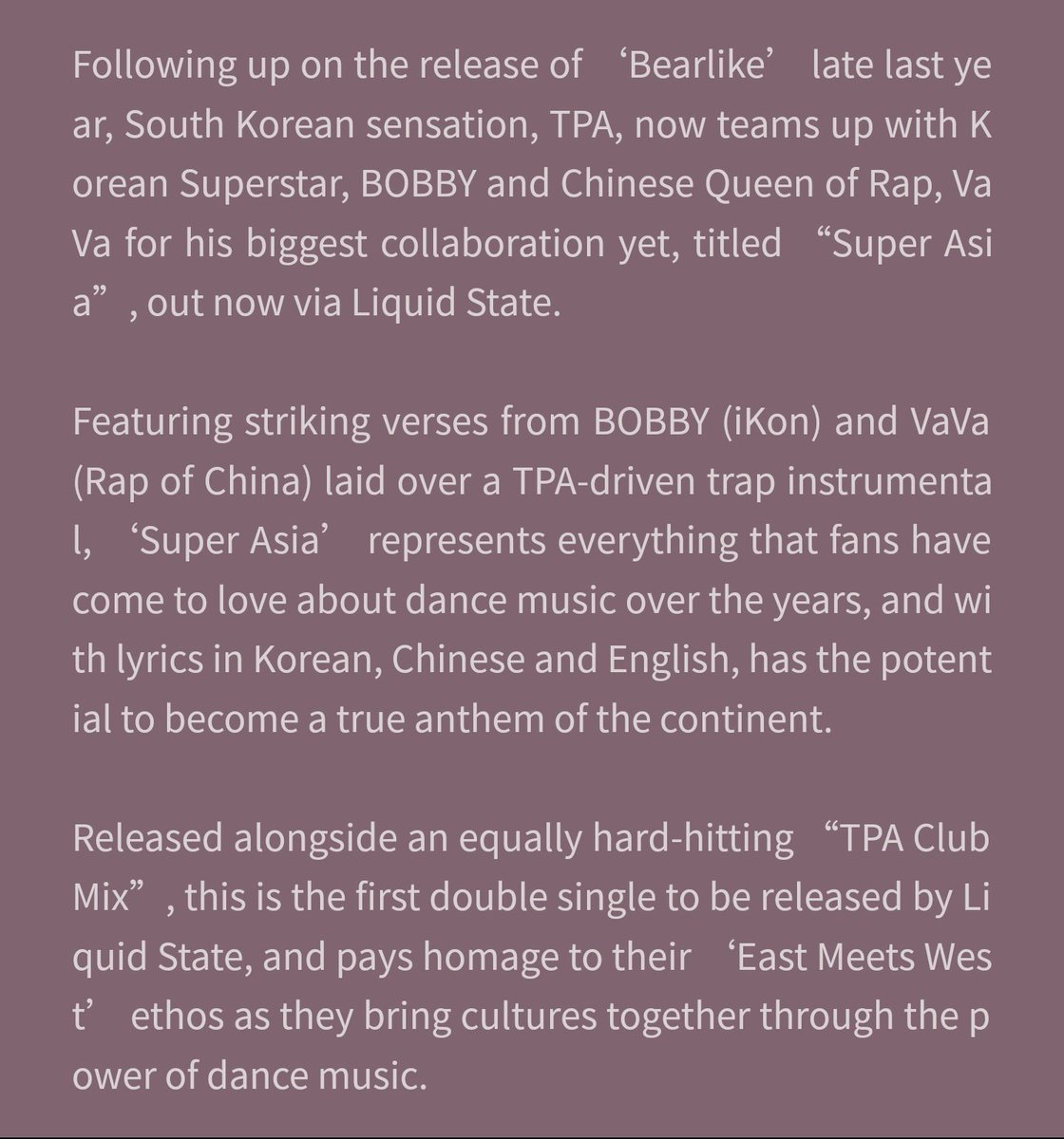 On Twitter About Super Asia Song Collab Between Vava Dj Tpa And Bobby From Qq Music Bobby Superasia
