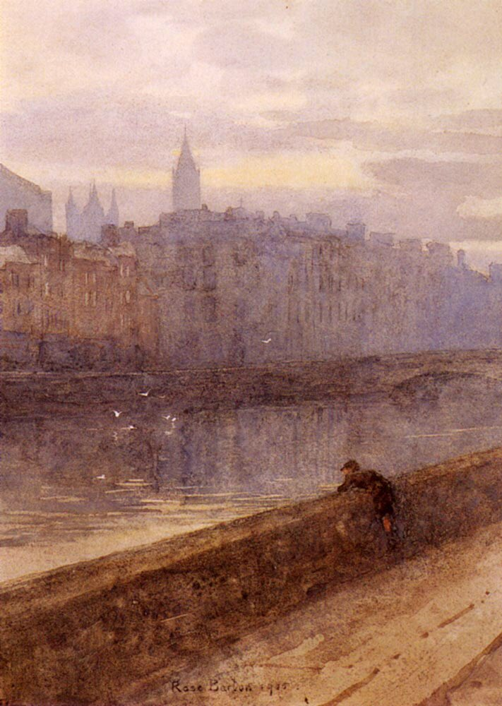 A beautiful watercolour along the River Liffey by the brilliant artist Rose Maynard Barton.Born April 21st 1856 in Dublin to Augustine Barton from Tipperary and mother Emily from Co. Galway. #OTD #Ireland