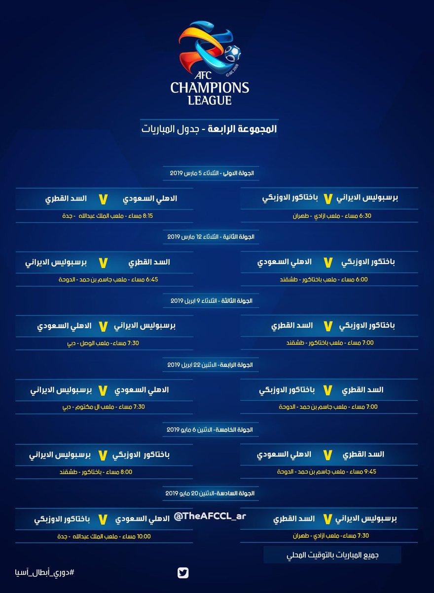 جدول مباريات نادي الاهلي في البطولة الاسيوية دوري ابطال اسيا للموسم 2019