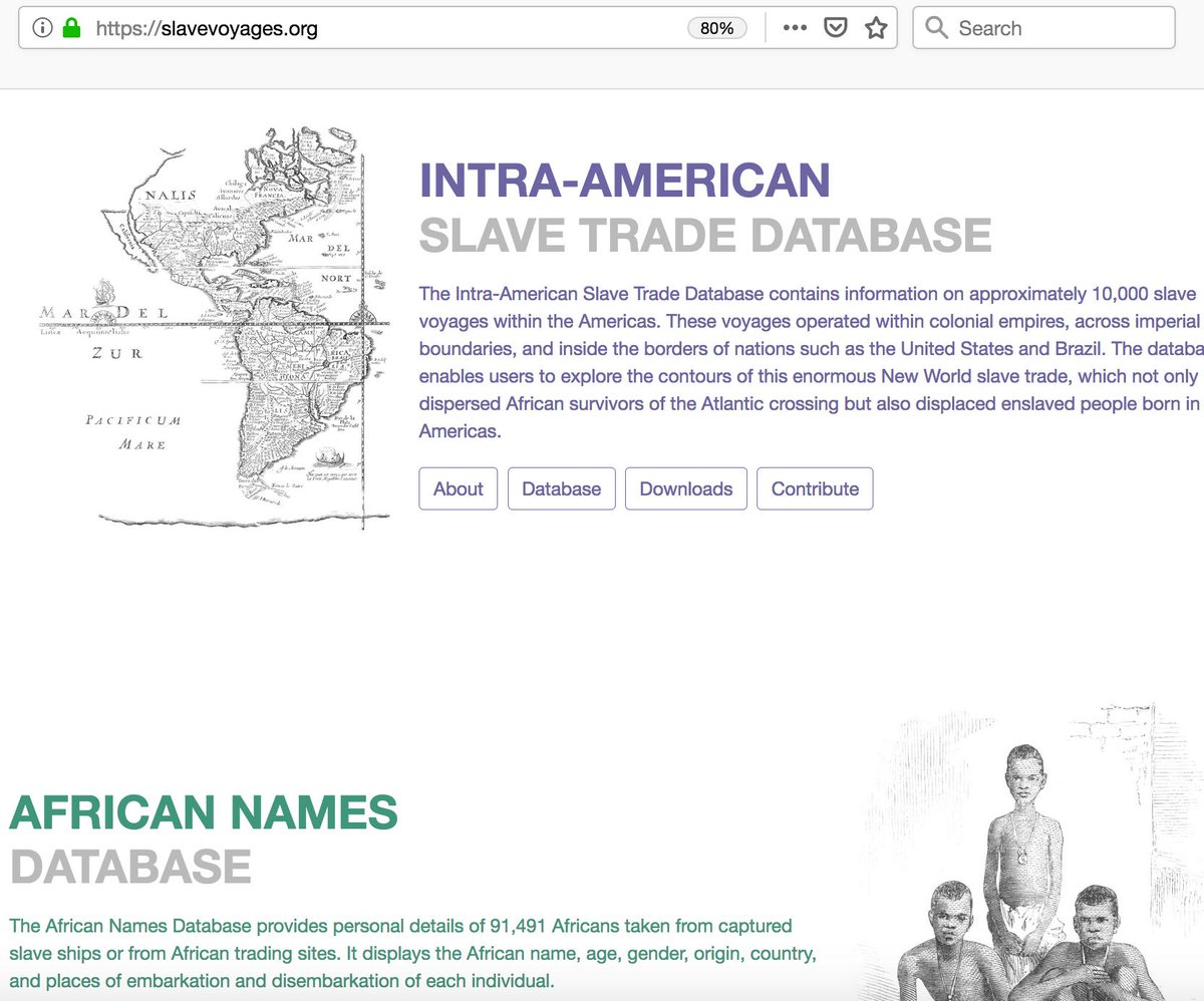 Very excited to announce that the Intra-American Slave Trade  Database launched yesterday. This research tool, funded by @NEHgov, documents more than 11,500 shipments that forcibly moved enslaved African people from one part of the Americas to another: https://slavevoyages.org/american/database …