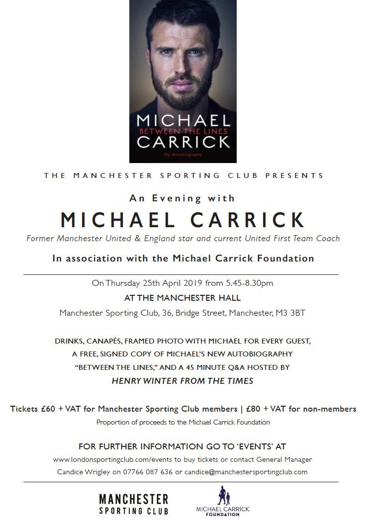 From growing up in the North East, to playing football at the Theatre of Dreams, to his coaching role at his beloved Man United, @carras16 will be chatting about it all at Manchester Sporting Club on the 25th of April to raise money for the Foundation 💬🎤📃 See you there 👍🏼