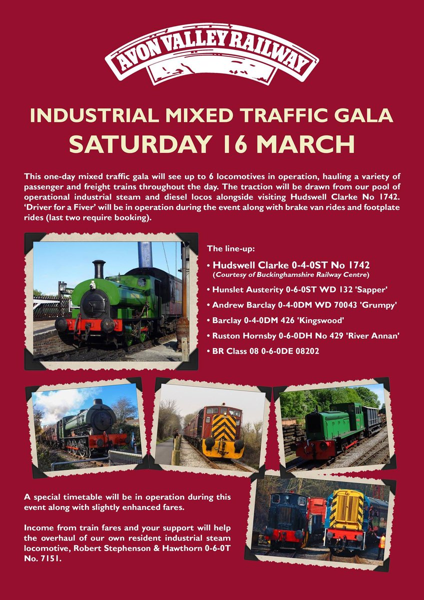 Saturday the 16th of March sees the @AVRbitton industrial mixed traffic gala. First train is at 09:30 check out our website for more details. https://www.avonvalleyrailway.org/events/industrial-mixed-traffic-gala/ … #SteamTrain #steam #steamloco #Diesel #industrial #Railway #Railways #steamtrains #heritage #Heritagerailway #gala