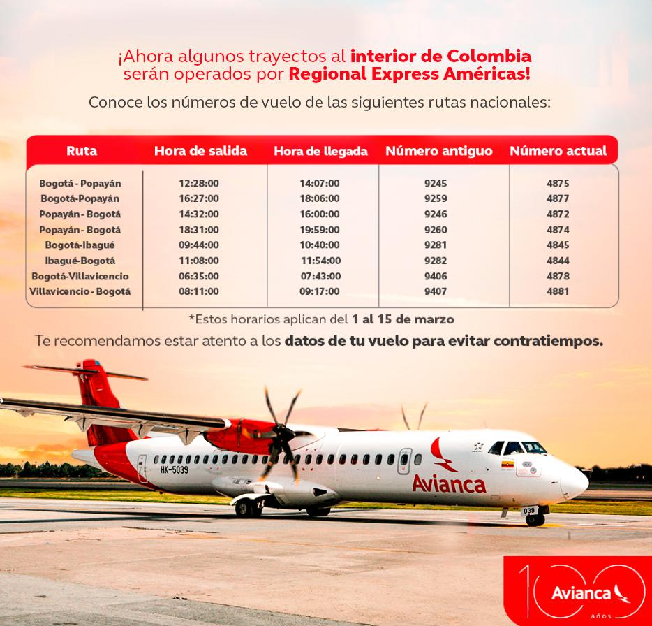 Itinerario de los vuelos de Avianca operados por Regional Express.