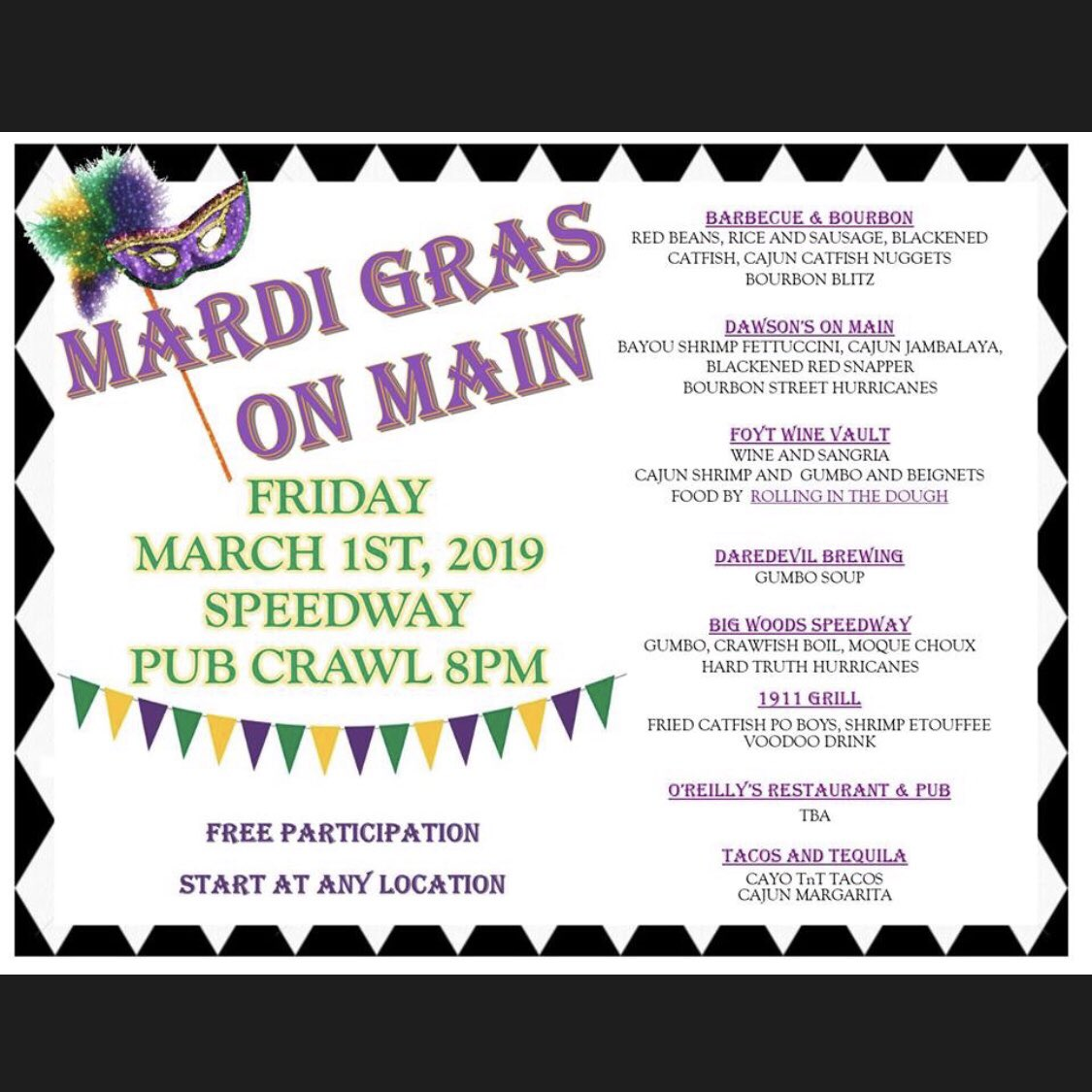 Two upcoming events on Speedways Main Street - Mardi Gras on Main Friday and Sip & Shop at @BigWoodsSpdwy Wednesday. Go to Speedway Chamber of Commerce Facebook page or see flyers here. ⤵️
