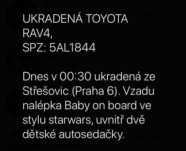 Kamarádovi dnes ukradli rodinné auto. Odměna za nalezení. Prosím RT.