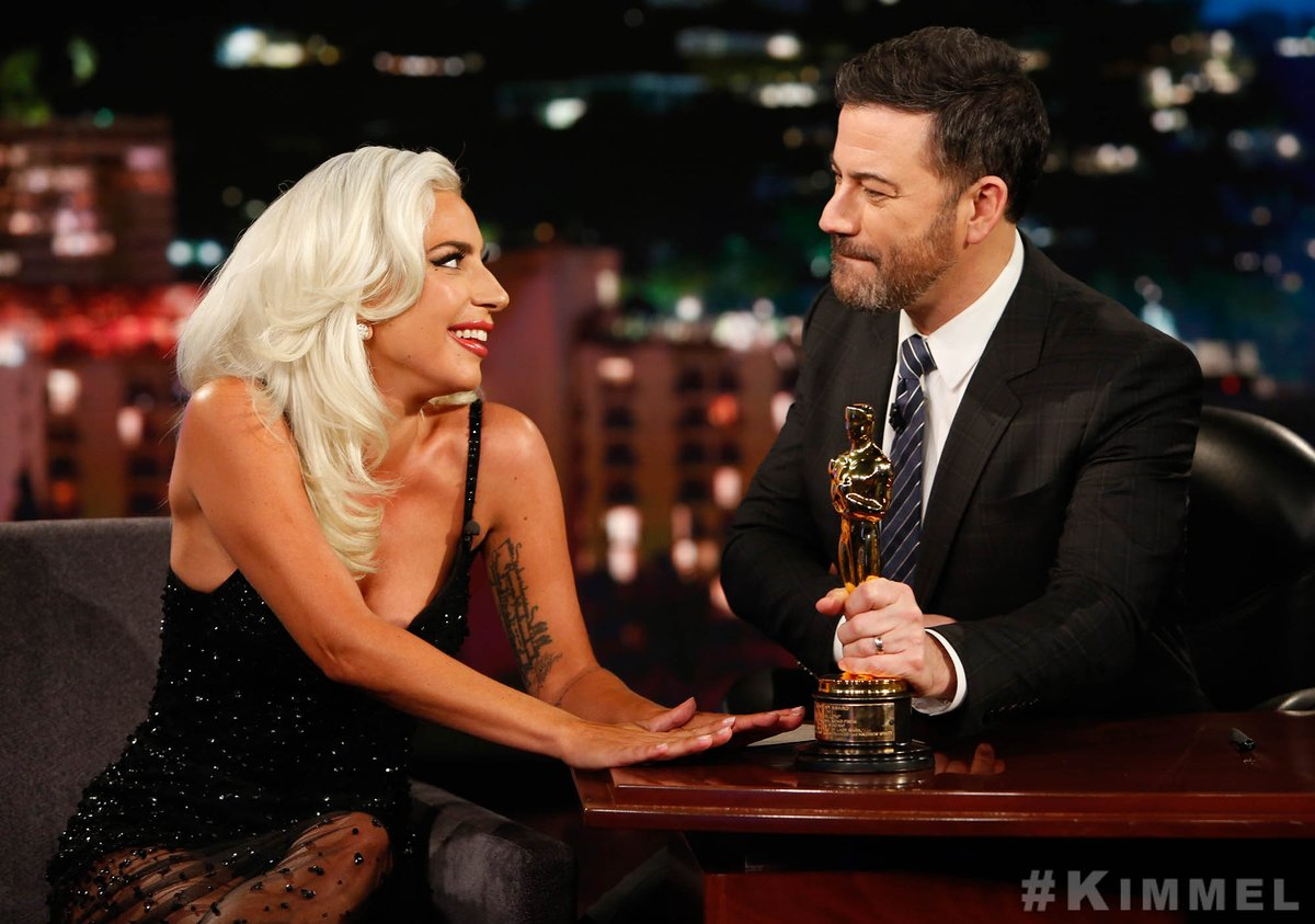.@ladygaga  stopped by @JimmyKimmelLive  to chat about #AStarIsBorn  Encore. Discover never before seen performances & exclusive new footage - in theaters tomorrow for one week only.
