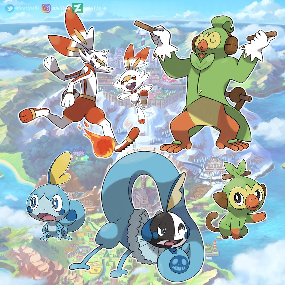 Startboii On Twitter So Those Were My Predictions Hope You Liked Them And If You Have Any Other Idea Let Me Know Pokemonswordshield Pokemon Scorbunny Sobble Illustration Grookey Pokemonday Pokemonswordshieldevolution Evolution Fanart Animated make love not war sign : startboii on twitter so those were my