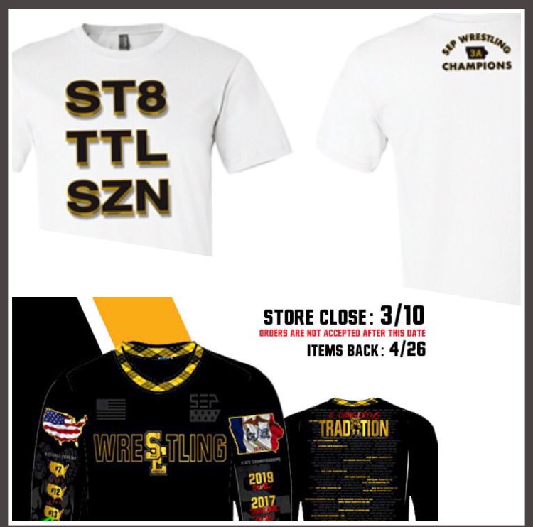 We have 2 shirts to celebrate our 2019 State Championship year:  1 - ST8 TTL SZN t-shirt https://www.ironside-apparel.com/SearchResults.asp?Cat=2202…  2 - SEP Tradition (sublimated long tee & hoodie) showcasing our history https://stores.teamelitesports.com/sep_wrestling  I'll pick a ST8 TTL SZN shirt winner from every 50 RT's this gets.