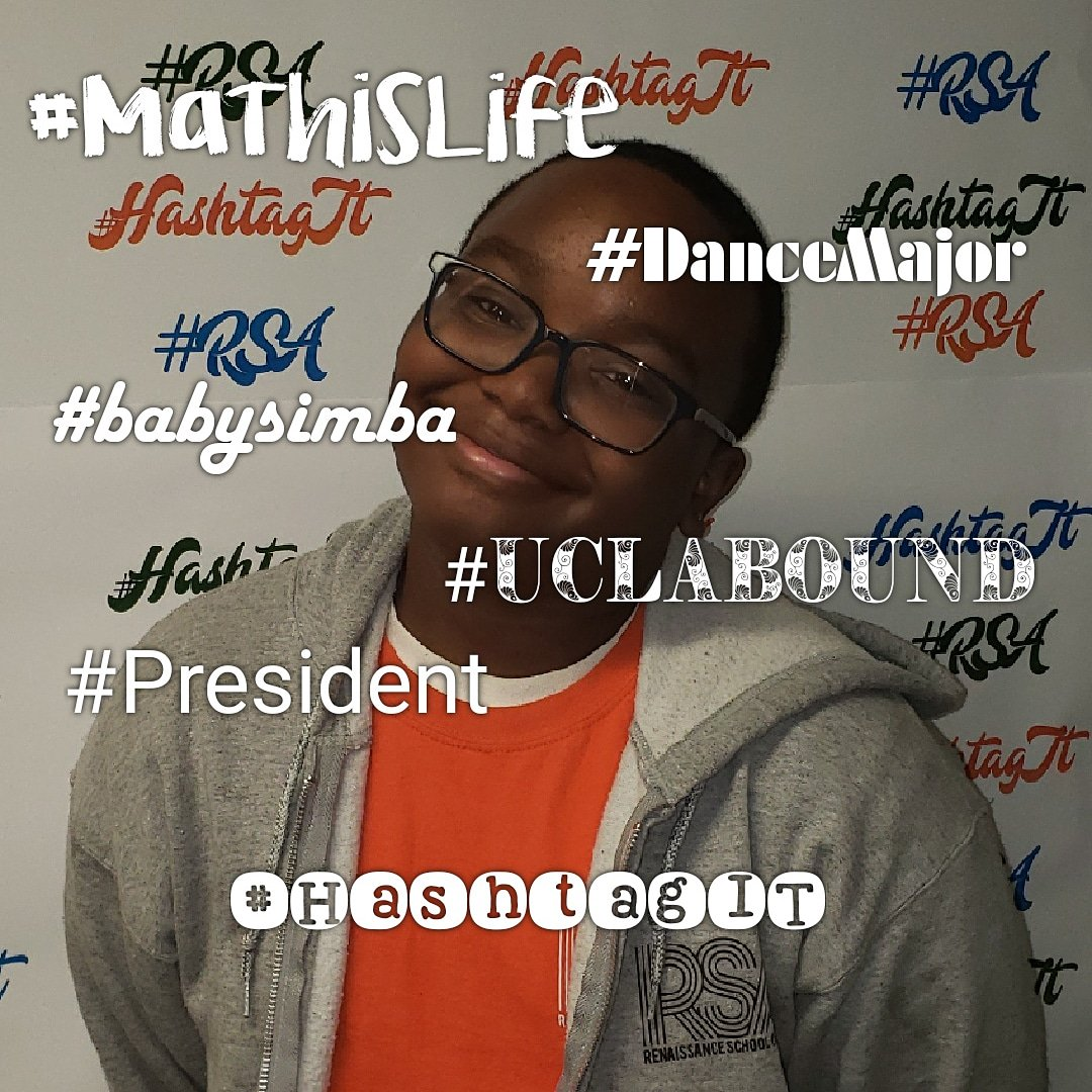 Student: Khalil RSA status:Senior RSA duties:Student Government President  5 positive hashtags that describe her feelings about RSA: #MathisLife #DanceMajor #BabySimba #President #UCLAbound 💙💚🧡 We love you too! #HashtagIT  #Champions4Children  #TheBESTPerformingArtsSchoolinD4