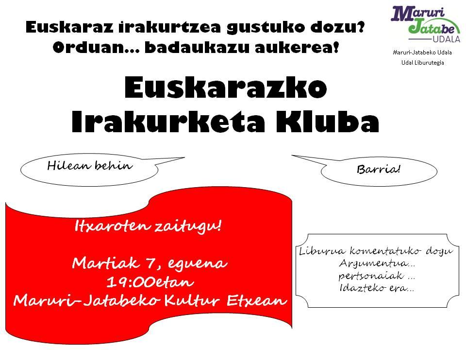 #Euskaraz irakurtzea gustoko duzu? Erdu datorren martiaren 7an liburutegira! Anima zaitez! #Maruri-Jatabe #Uribe #irakurri #euskara365egun https://t.co/KURGLmSesp