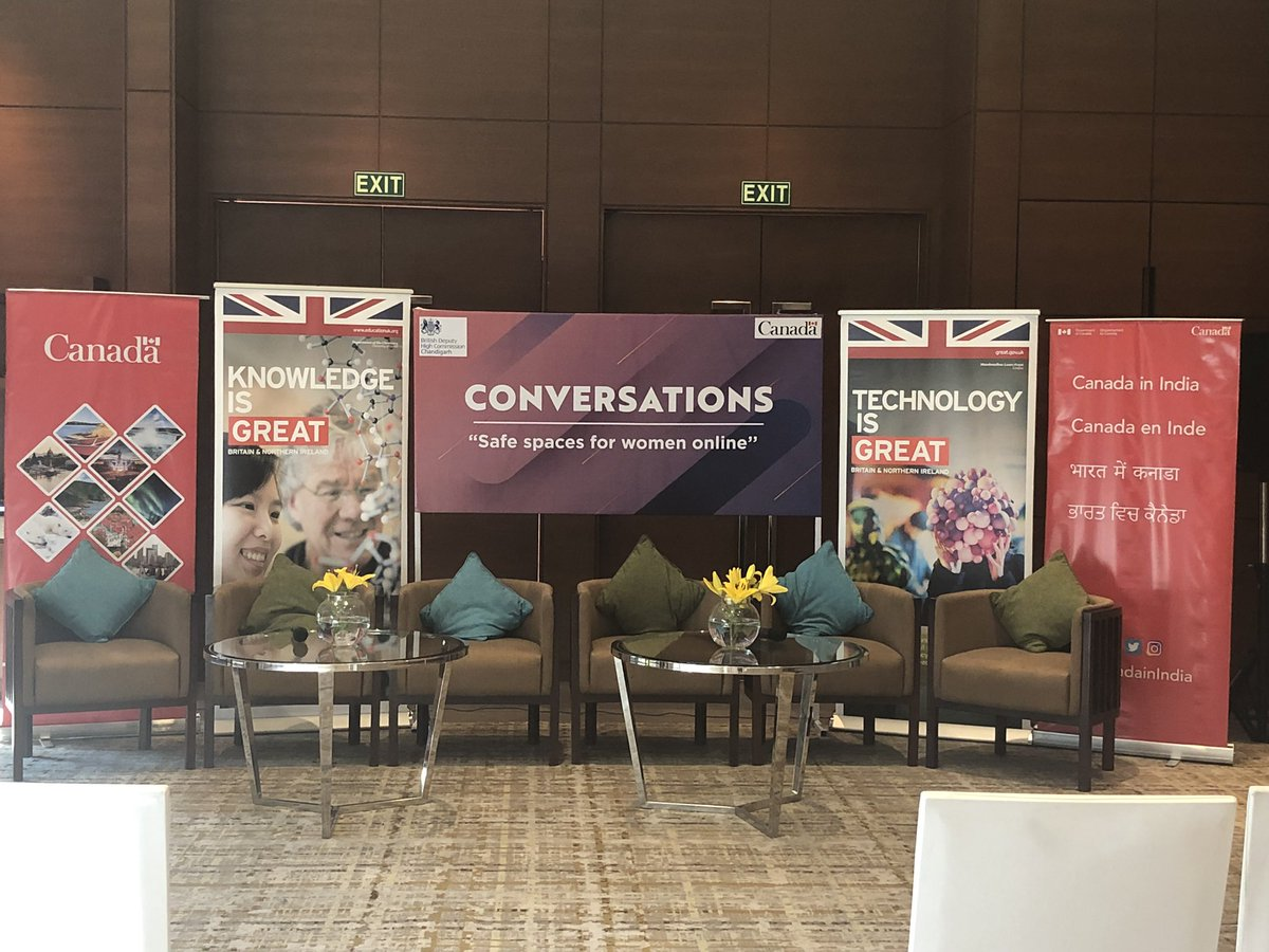 All set to begin! Follow this space to hear what @mehartweets @harjotbains @DHCAndrewAyre @MiaYenCanada & @sanamwazir have to say about creating safe online spaces for women  @UKinIndia @CanadainIndia https://t.co/38k4fxdWMV