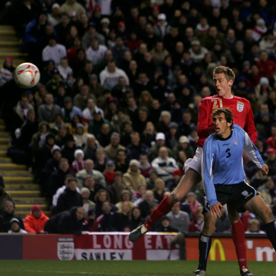 Spot the difference 👀  #OnThisDay in 2006, @petercrouch scored the first of his 2️⃣2️⃣ international goals – but what was unique about his maiden strike?