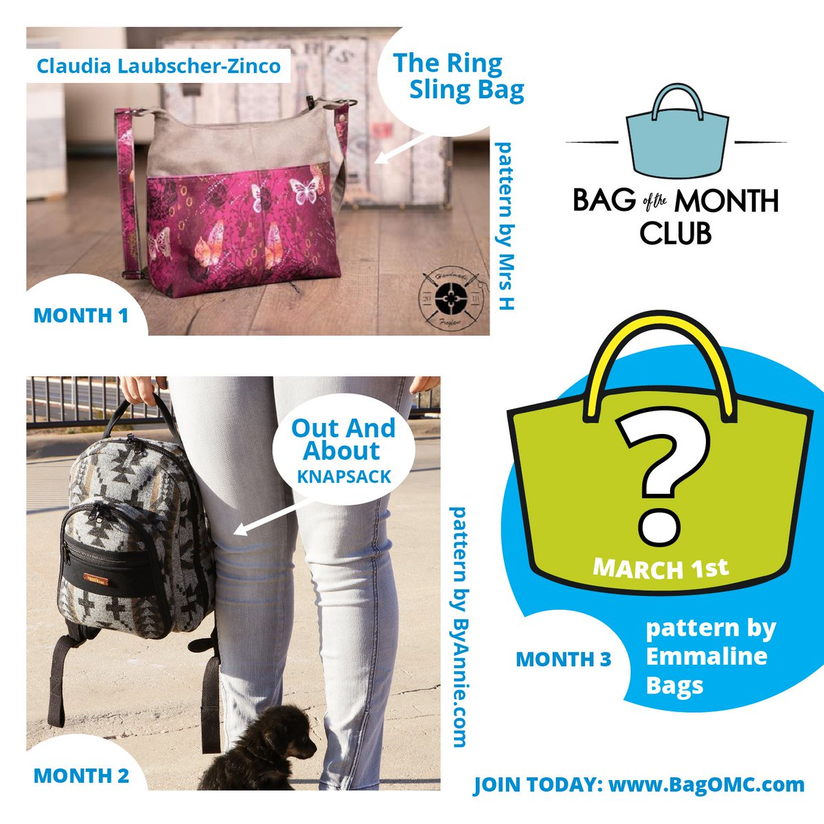 It's the final month to join the Bag of the Month Club! Join today at https://www.bagomc.com/join-the-club.html… for exclusive access to three amazing patterns. #sewingclub #bagmaking #diylife #fridayfeeling #dontmissout