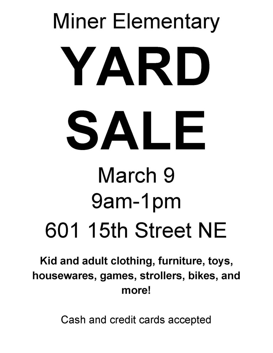 Asking what to do with leftover paint? Finally ready to let go of those audio cassettes & VCRs? Bring your haz waste and e-waste to @MinerPTO's 4th Annual Community Yard Sale 3/9 @MinerElementary & we'll take care of them for you. https://www.minerelementary.org/yardsale.html for more details.
