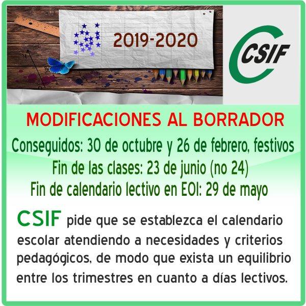 Calendario Escolar 2020 Cyl.Modificaciones Conseguidas Al Borrador Del Calendario Escolar 2019