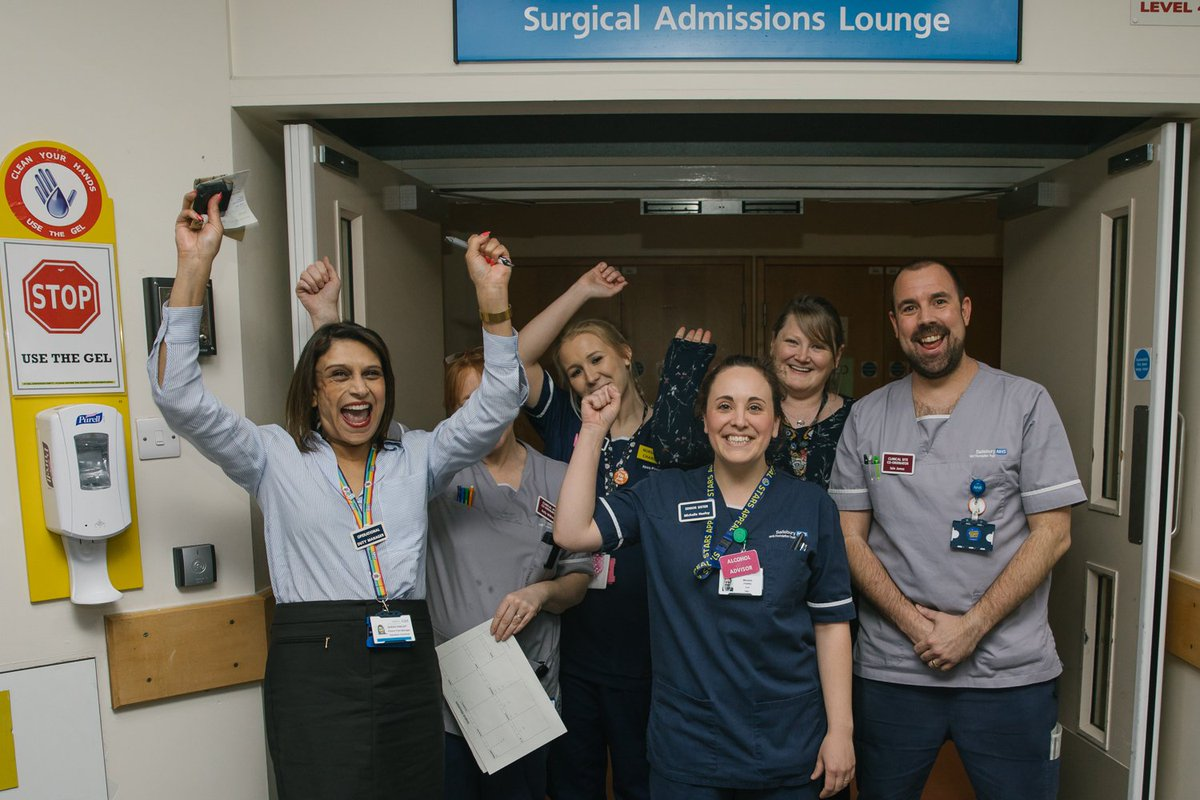Lots of happy faces from staff across the hospital today as we celebrate our CQC rating of 'good' overall and 'outstanding' for critical care.