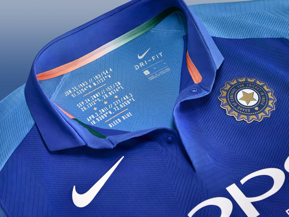 team india s new nike jersey for the world cup has been launched a nice touch on the inside of the collar referring to the three world titles won so far