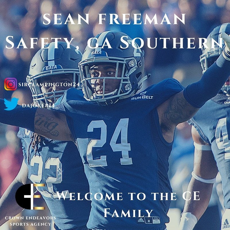 Welcome @DaJoker14_ from @GeorgiaSouthern to the CE family! He finished his career with 92 tackles, 2.5 tackles for a loss, 13 pass deflections, and 1 forced fumble #cefam #crownendeavors #nflagent #sportsagent #gasouthern #nfldraft #nflcombine