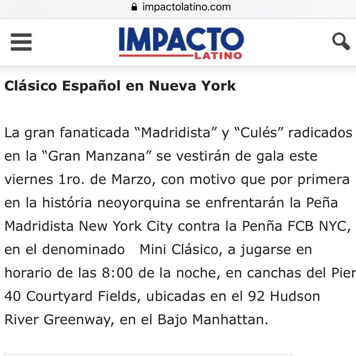 Hoy también es día de Clásico... NYC MINI CLÁSICO! #MadridistasNYC vs @FCBarcelona_NYC ¡Vamos!