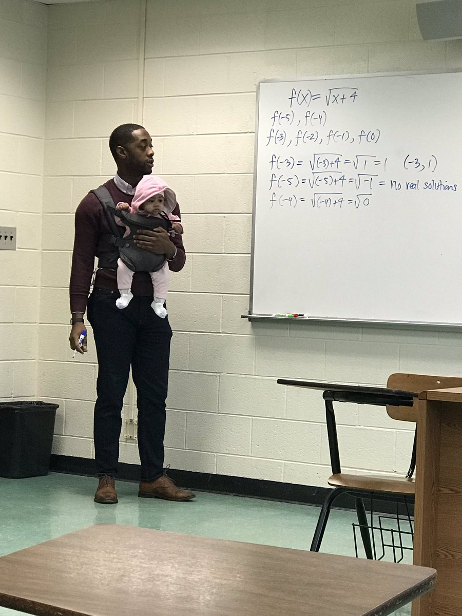 "Student came to class today with his child due to no babysitter or anybody to watch her while he was in class.  My professor NATHAN ALEXANDER said ""I'll hold her so you can take good notes!"" #HBCU #morehouse #Respect – at The Atlanta University Center"