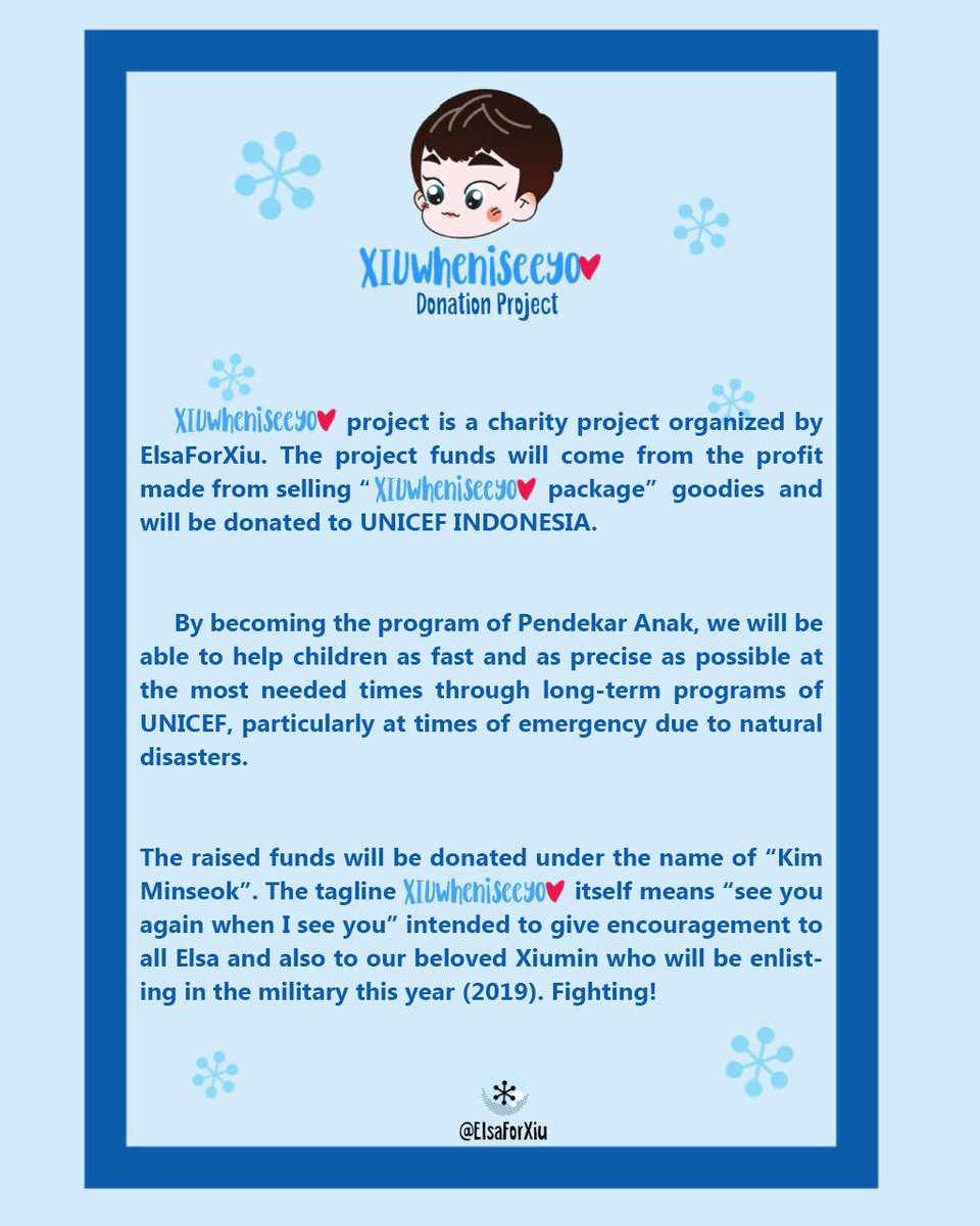 Hello Everyone To Celebrate Xiumins 30th Birthday Elsaforxiu Proudly Present Xiuwheniseeyou Donation