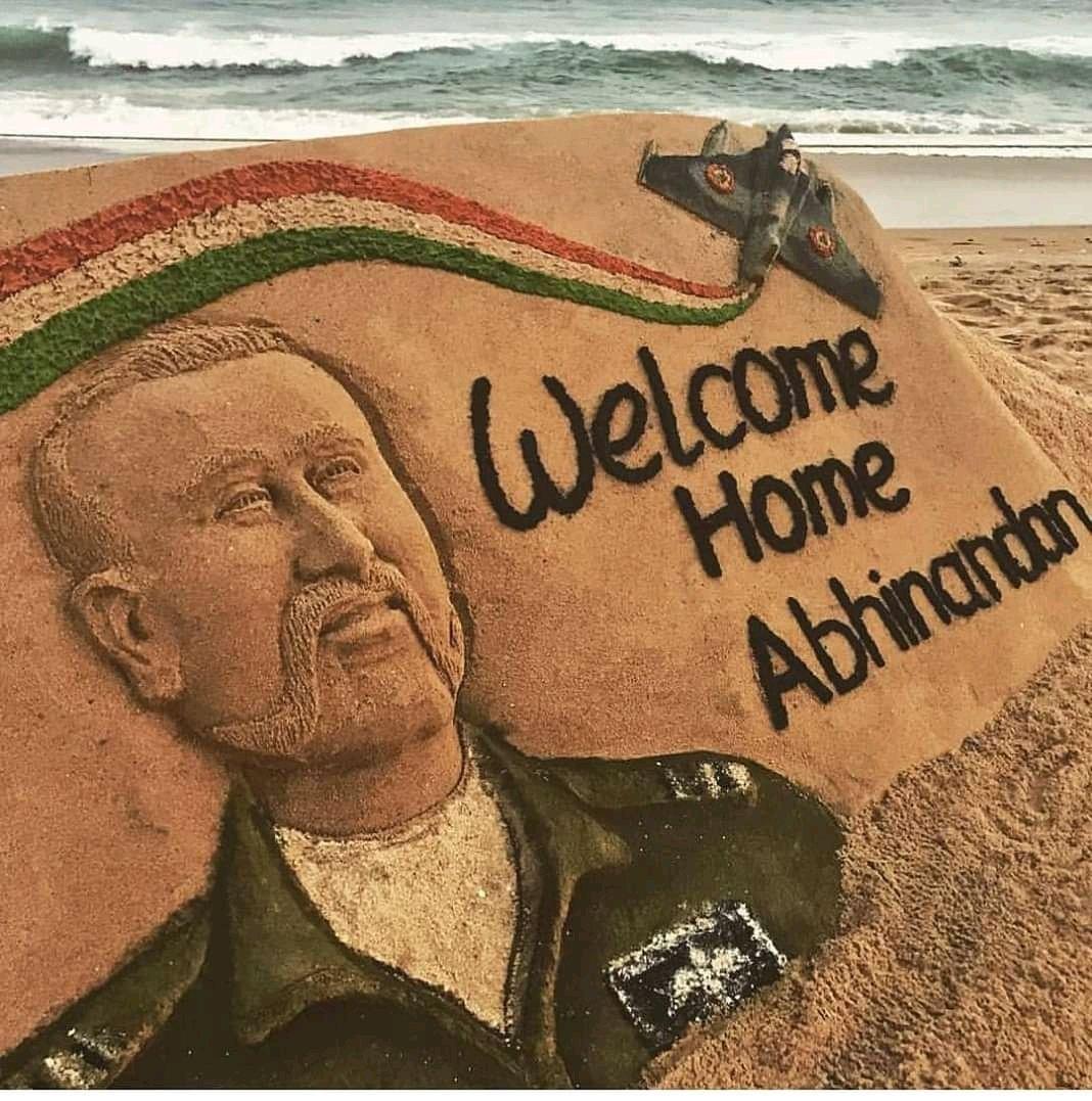 Welcome Home Wing Commander  Abhinandan...Jai Hind...! #WelcomeHomeAbhinandan https://t.co/YAk60jG1dx