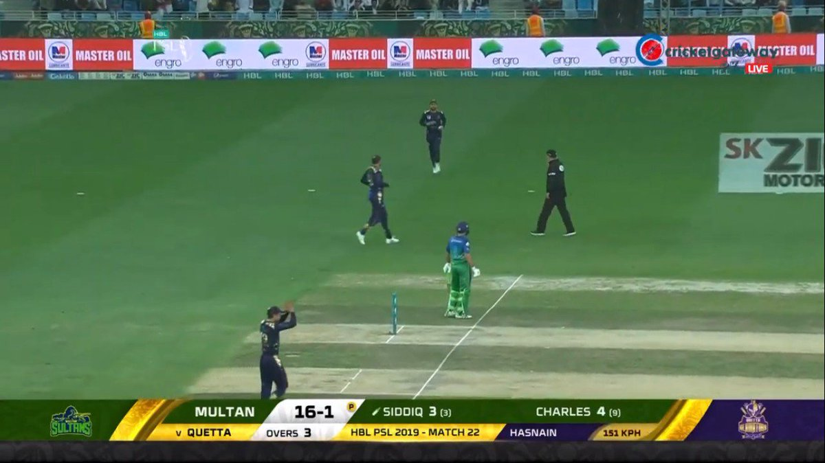 18 year-old Mohammad Hasnain with the fastest ball so far of PSL4 - 151kph (93mph) #PSL4 #QGvsMS https://t.co/zx89GklWbN