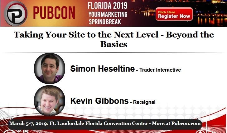 Learn how to take your website to the next level with advice from experts @SimonHeseltine and @kevgibbo at the Pubcon Florida marketing conference. Join us next week in Fort Lauderdale.  Session Details https://www.pubcon.com/session-details?action=view&conference=pubcon88&record=652… #Florida #Marketing #FortLauderdale