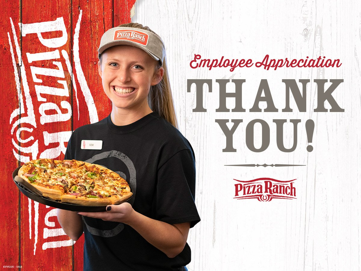 Today is #EmployeeAppreciationDay, and at Pizza Ranch, we are proud of our Ranch Hands that give our guests a Legendary Experience! 🍕 Thank you for all you do!  Help us celebrate them and give us a shout out for a team member that's gone above and beyond!