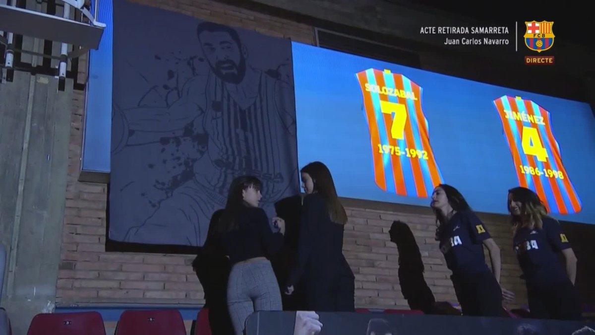 La camiseta de Juan Carlos Navarro es retirada. La leyenda del 11 vivirá en lo alto del Palau 🎥  @FCBbasket