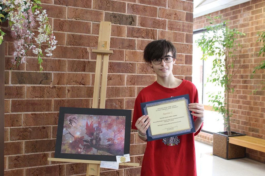 Two of our BCS students received the Award of Excellence in The Burlington County High School Student Exhibition at The Center for the Arts in Southern New Jersey. Congratulations to  Austin C. & Kyle S. for their designs. #BCSSSDPride