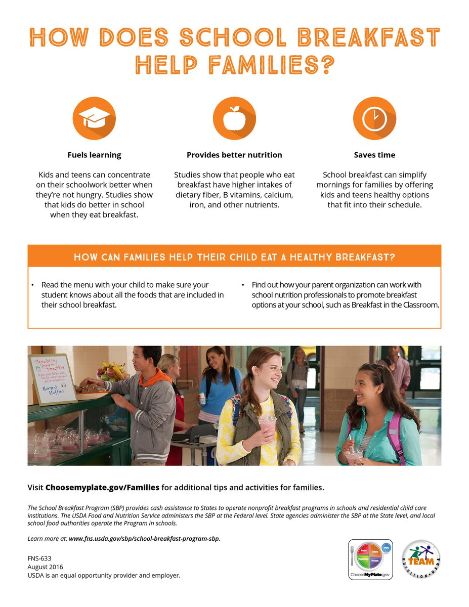March is National Nutrition Month! Check out these cool infographics illustrating the nutritional benefits of school breakfast. Download them yourself via @USDA @MyPlate page: https://buff.ly/2UmMvLC #NationalNutritionMonth #SchoolBreakfast #NSBW19