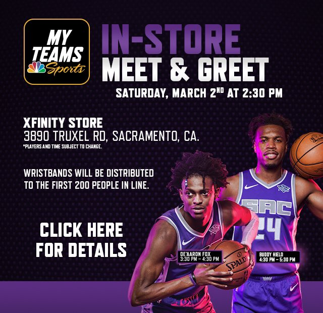 👑 Saturday, March 2nd 👑  Meet @swipathefox & @buddyhield at a special in-store event 🙌#SacramentoProud  #AuthenticFan  http://NBCSportsCalifornia.com/MyTeamsSacKings