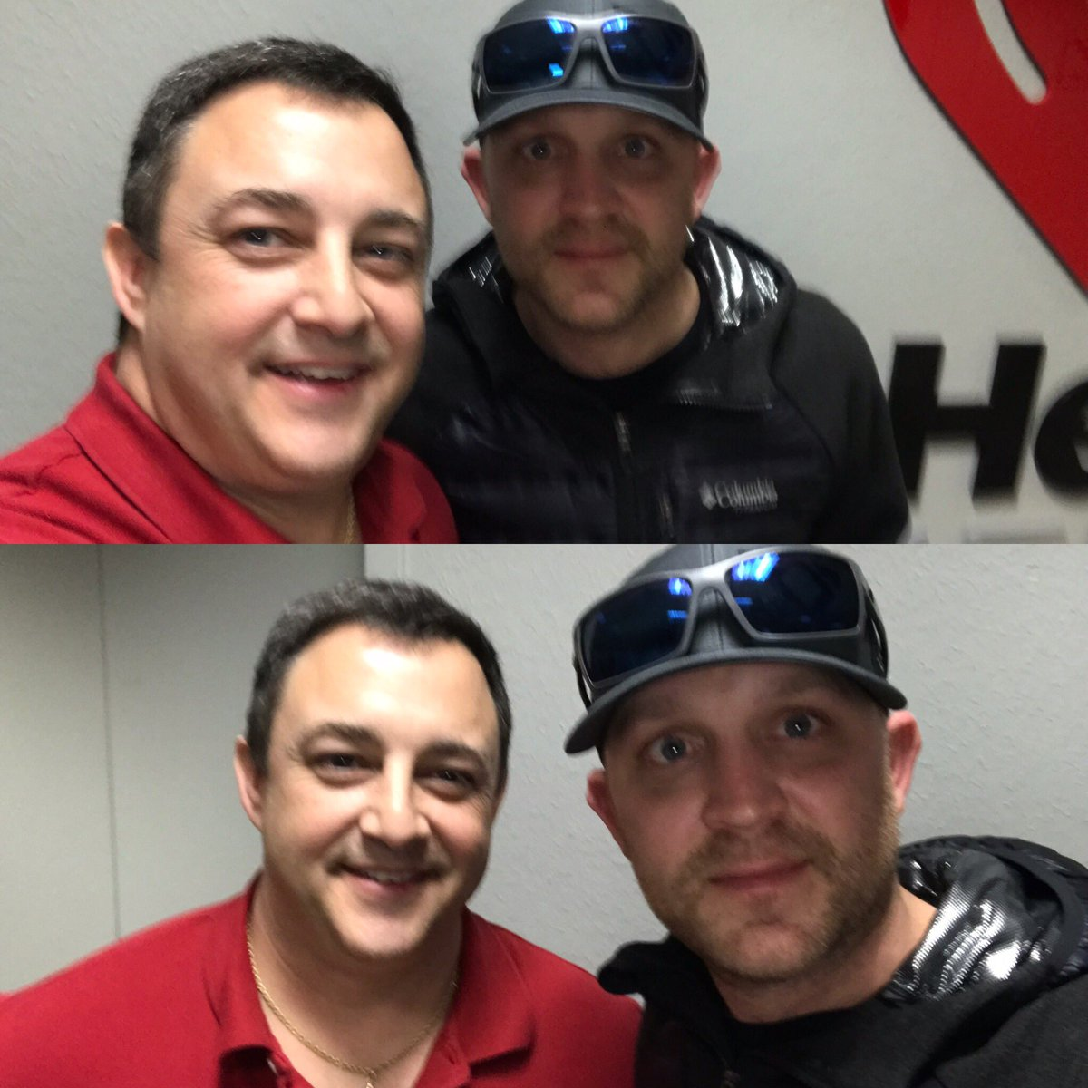 @JustinColeMoore Is on the air with us at  #SelfieWar mine is on top, Justin Moore's is on bottom… Like the one you like the best?