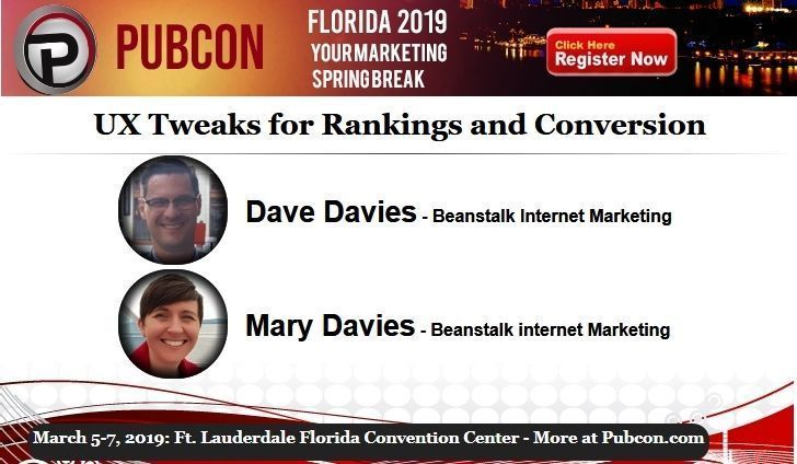 Learn UX Tweaks for Rankings and Conversion from @beanstalkim and @beanstalk at the Pubcon Florida marketing conference. Join us next week in Fort Lauderdale.  Session Details: https://www.pubcon.com/session-details?action=view&conference=pubcon88&record=152… #SEO #FortLauderdale