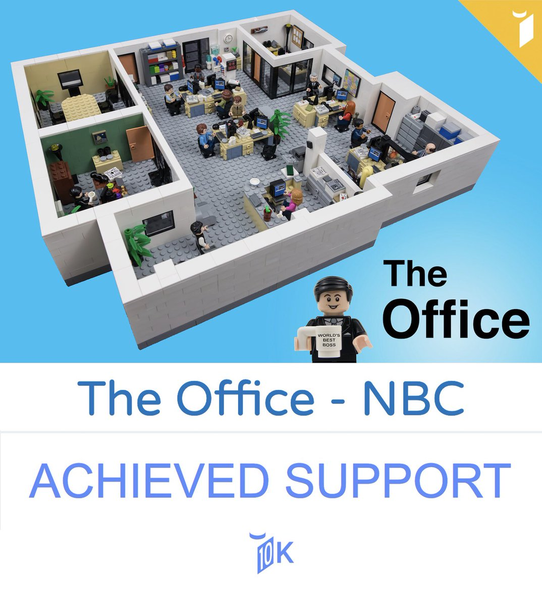 WE DID IT!! 🎉  In case you didn't hear, yesterday, we hit 10,000 supporters on the project!!  LEGO will now review the project and decide whether or not they want to produce it as an official LEGO Set!  Thanks so much to everyone who helped support and share!🙂  #theoffice #lego