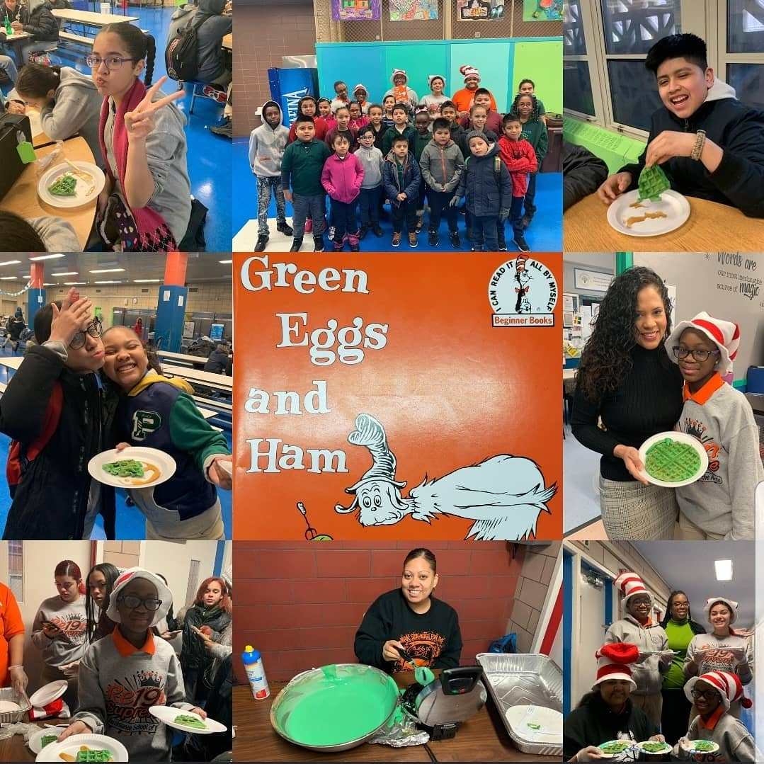 Celebrating Dr.Seuss Birthday🎉 in style with a read aloud 📗📘hosted by RSA middle school family and topped with green waffles!🥞 We enjoyed them Sam-I-am!!🤗 #pacapride #thepacaway #unityinthecommunity  @CSD_4 @RSAMS377 @DOEChancellor @333MNBO @aestrel3 @HeidiPierovich @Mmootoo
