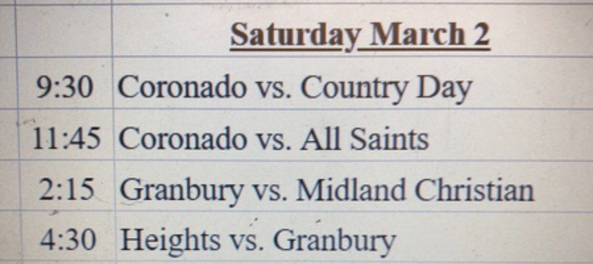 Schedule for tomorrow. Heights will take on Granbury at 4:30 PM @ AHHS.