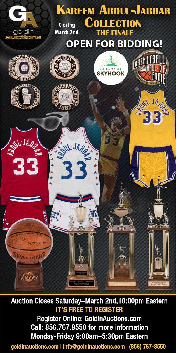 Kareem's Memorabilia Auction! Link Here: http://bit.ly/2VrXiEx