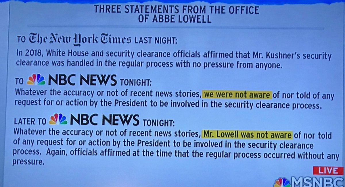 It appears:  1) trump/ WH lied or 2) Kushner's attorney lied or 3) Kushner's attorney was lied to ... Oops