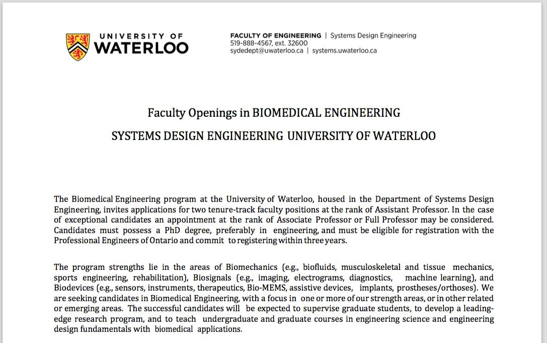 Brokoslaw Laschowski On Twitter New Job Posting Two Tenure Track Faculty Positions In Biomedical Engineering At The University Of Waterloo Applications Due April 12th Good Luck Https T Co X9zliiajlx Https T Co Moakhj1j8q