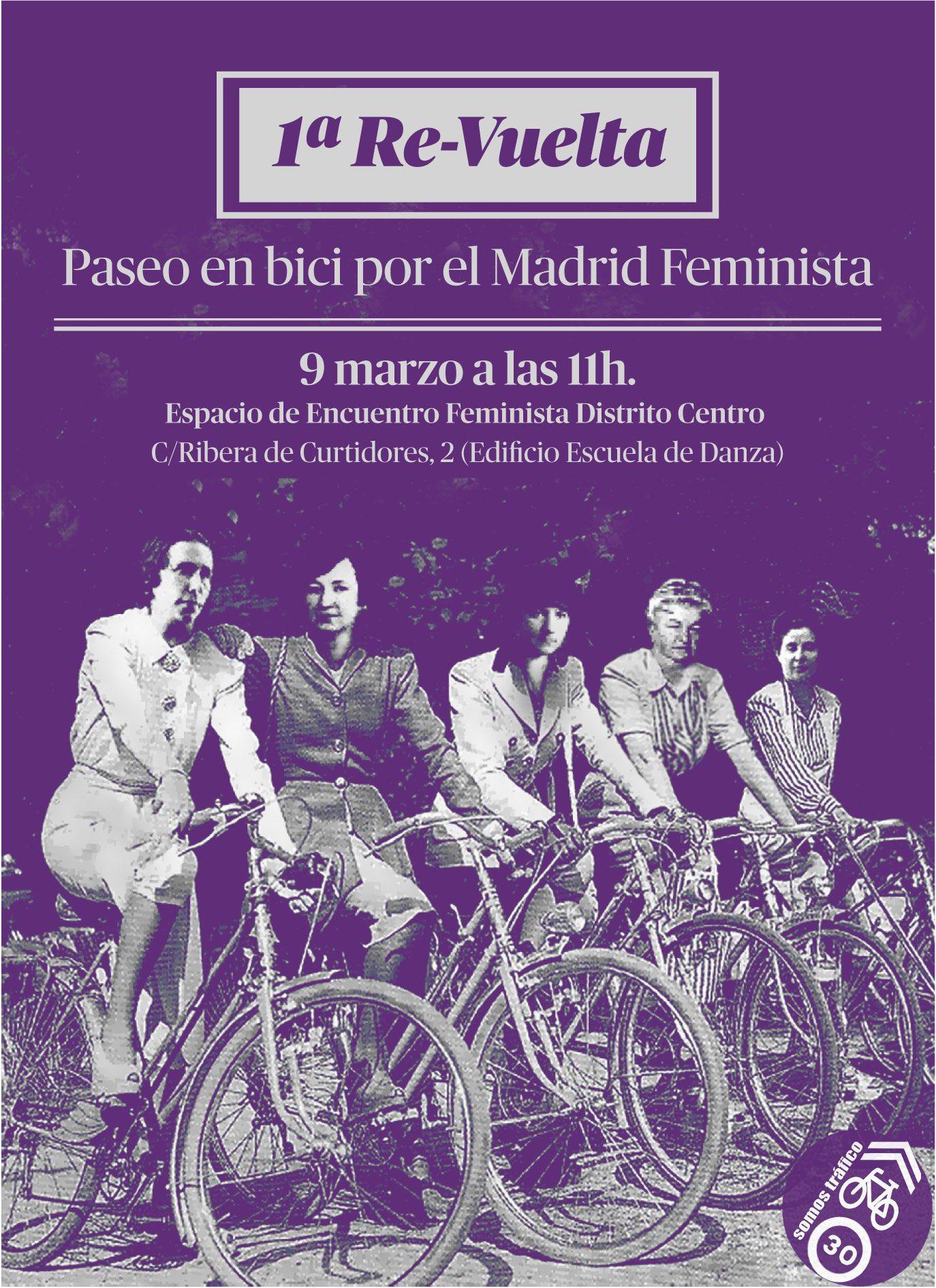 Primera «Re-Vuelta». Paseo en bici por el Madrid feminista