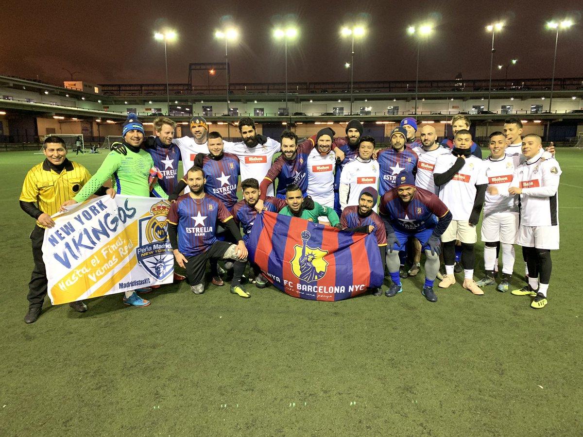 Our penya team gathers with @MadridistasNYC following the first ever mini clasico de Nueva York.