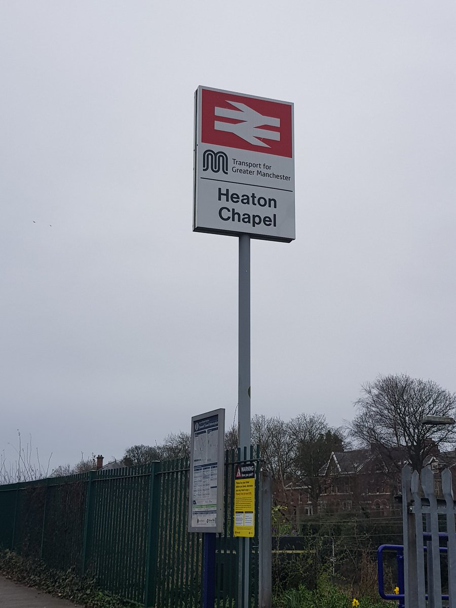 New sign at Heaton Chapel. Why are the arrows so thick these days??? @_doublearrow