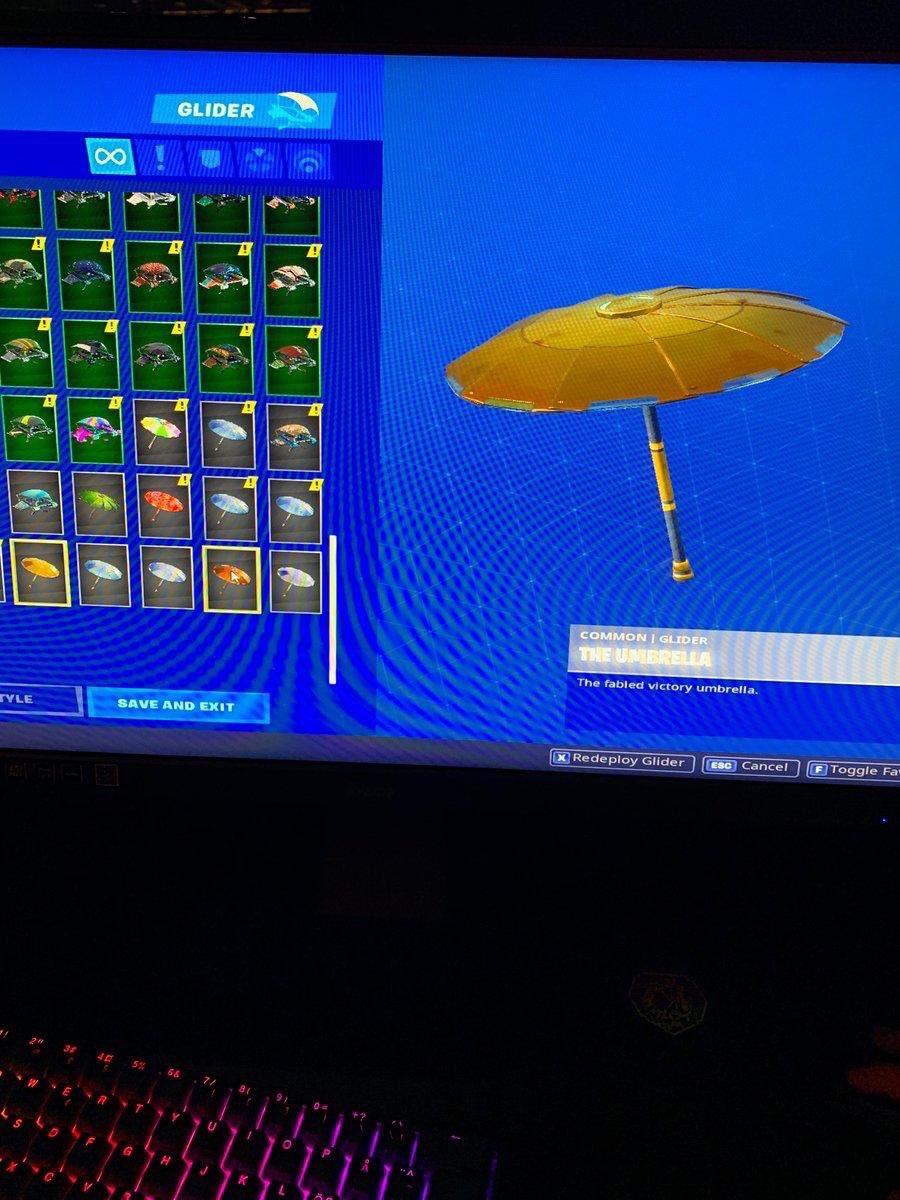 paraguas dorado filtrado en el torneo de la esl de fortnite pic twitter com rn9uogguji - paraguas fortnite temporada 6