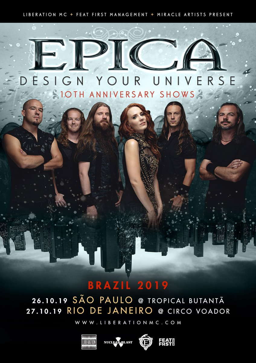 Brazilian Legion! Tickets for our upcoming Design Your Universe 10th Anniversary shows are on sale now from: epica.nl/tour