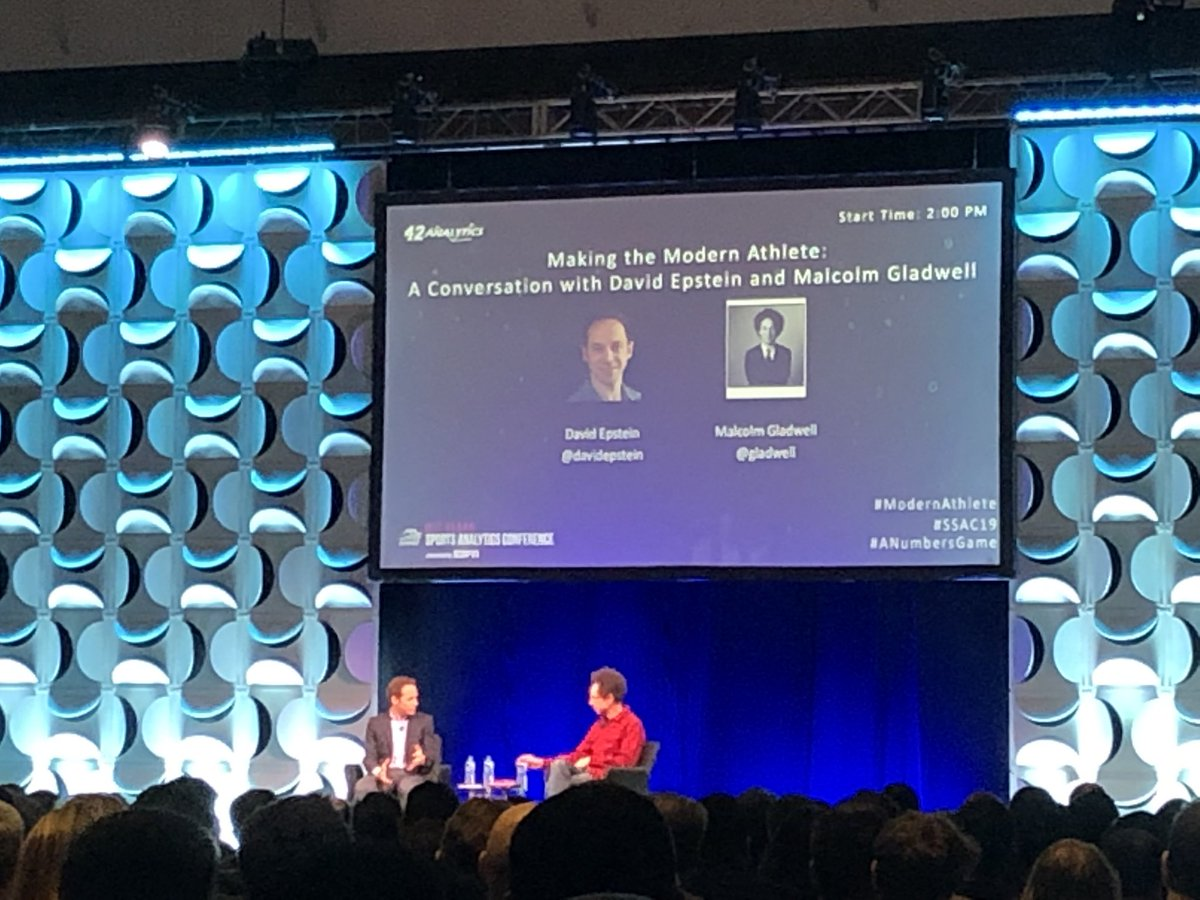 Very excited for this conversation on modern athletes between Malcolm Gladwell and David Epstein. #SSAC19